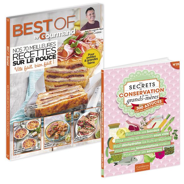 """Lot : """"Best of Gourmand n°81 : « Nos 70 meilleures recettes sur le pouce »"""" + """"Cultissime n°25 : «  Les secrets de conservation de nos grands-mères »"""""""