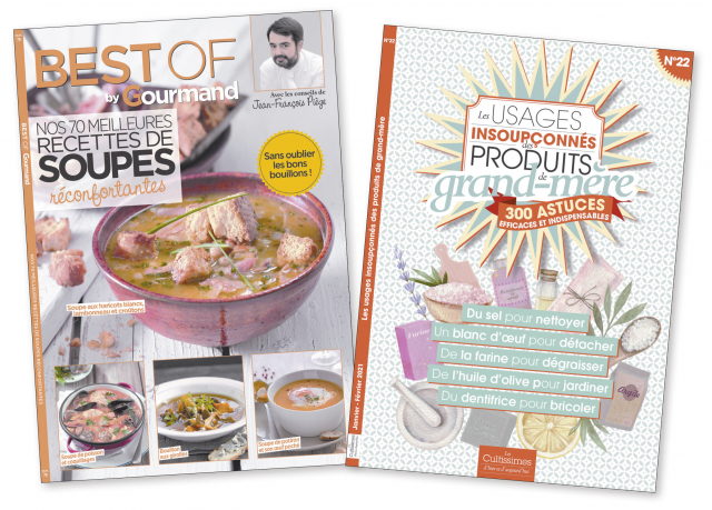 """Lot de 2 : """"Cultissime n°22 = Les usages insoupçonnés des produits de grand-mère"""" + """"Best of Gourmand = Soupes"""""""